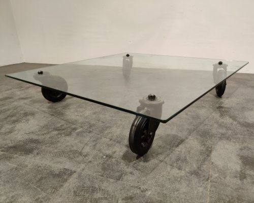 'Tavola Con Ruote' Coffee Table by Gae Aulenti for Fontana Arte, 1980s