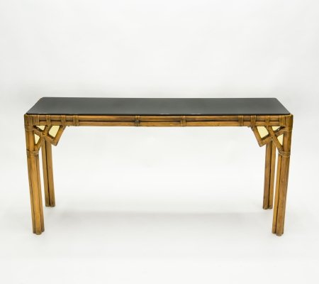Large Bamboo & brass Italian console table with black glass top, 1970s