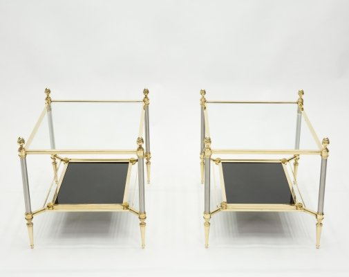 French two-tier Maison Jansen brass opaline glass end tables, 1970s