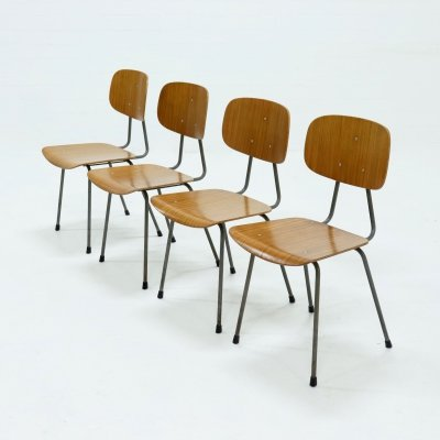 Set of 4 Plywood Kembo Dining Chairs, 1950s