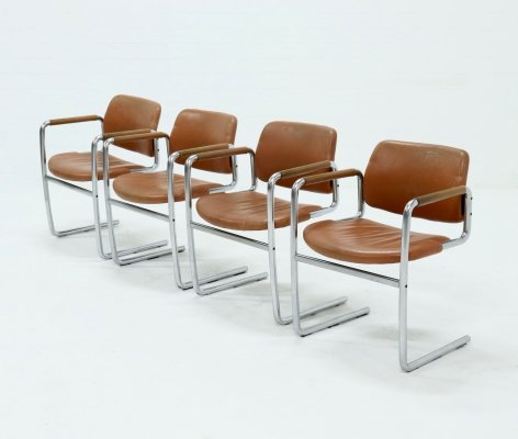 Set of 4 Dining Chairs by Jørgen Kastholm for Kusch+Co, 1970s