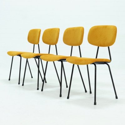 Set of 4 Kembo Dining Chairs in Yellow Ribcord, 1950s