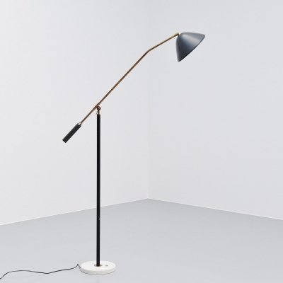 Stilux adjustable floor lamp in dark grey, Italy 1960
