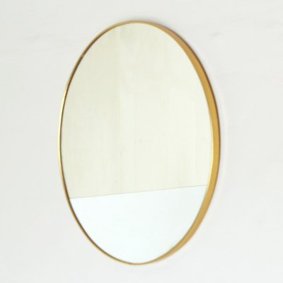1960s goldenrod framed vintage mirror