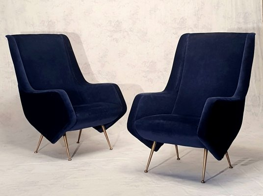 Pair of Italian Night Blue Armchairs by Aldo Morbelli for ISA Bergamo, 1950s