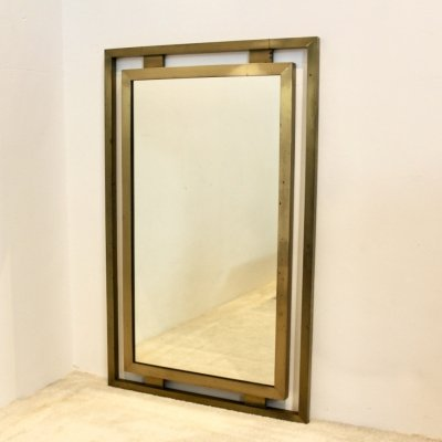 Solid Brass Mirror by Guy Lefevre for Maison Jansen, 1970s
