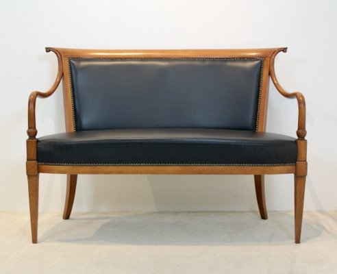 Italian 'Directoire' Two Seat Sofa by Selva in solid Beech & Leather