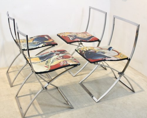 One off Hand painted set of four 'Luisa' Dining Chairs by Marcello Cuneo