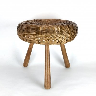 Mid century wicker tripod side table / stool