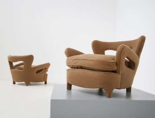 Pair of Italian Armchairs by Carlo Enrico Rava in Bouclè Fabric, 1940s