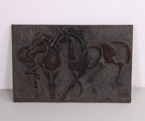 Cast Iron Plaquette with Dancing Horses, 1960s