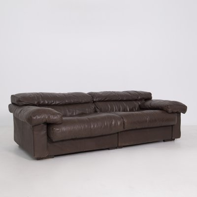 Tobia Scarpa Italian Sofa Mod. Erasmo for B&B Italia in Black Leather, 1970s