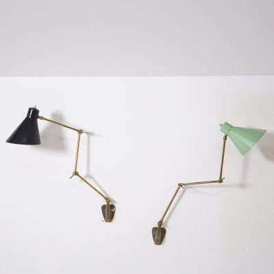 Pair of Italian Stilnovo Wall Lamp in Brass & Aluminium Green & Black, 1950s
