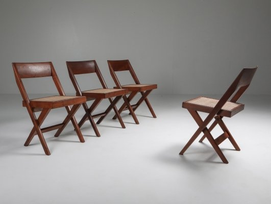 Set of 4 Library chairs by Pierre Jeanneret, 1950's