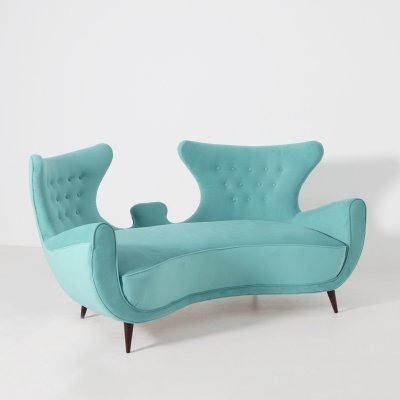 Italian Loveseat Sofa in Blue Velvet, 1950s