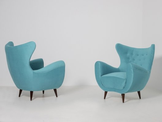 Pair of Italian Midcentury Armchairs in Light Blue Velvet, 1950s