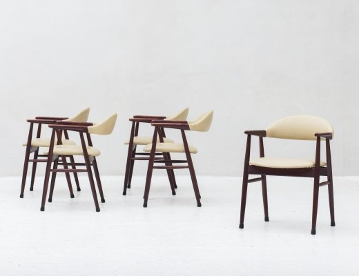 Set of 5 cowhorn dining chairs, Denmark 1960's