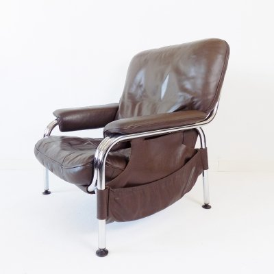 De Sede Kangaroo brown leather armchair by Hans Eichenberger