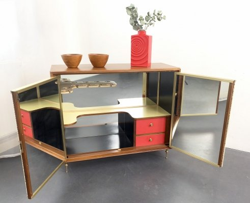 Mid-Century Bar Cabinet with Leather & Brass, Italy 50s