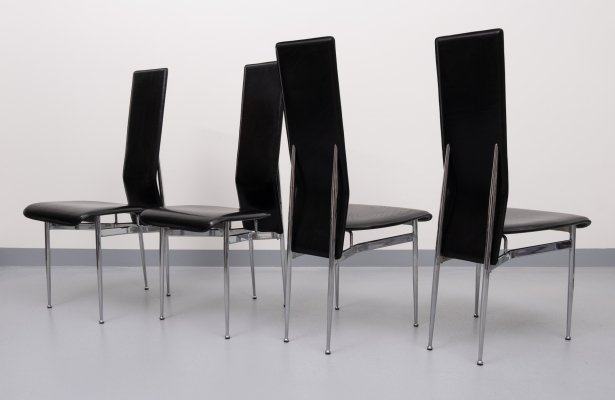 Set of 4 dining chairs by Giancarlo Vegni & Gianfranco Gualtierotti for Fasem, 1980s