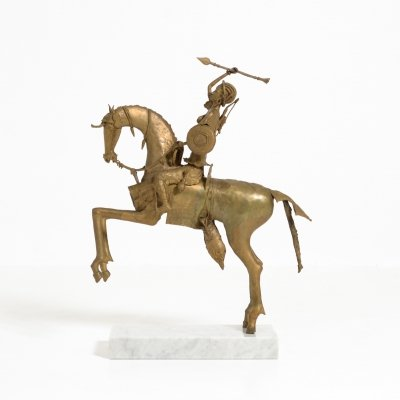 African Tribal Bronze Sculpture - Female Warrior on a Horse, 1970s