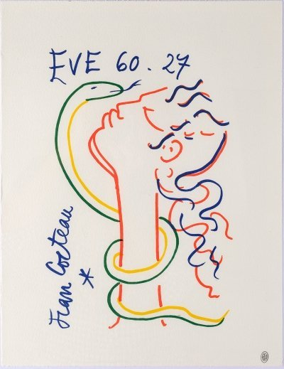 'Eve et le serpent' Lithography by Jean Cocteau, 1960s