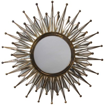 French 1960s Sunburst Mirror