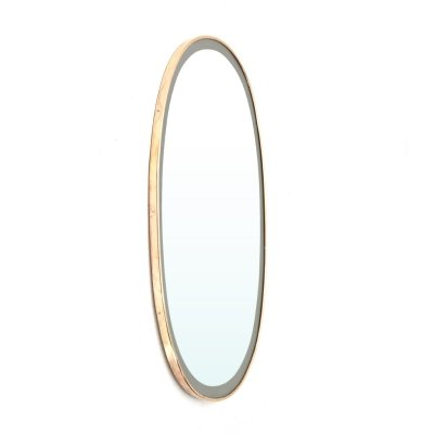 Oval mirror with brass frame, 1950s