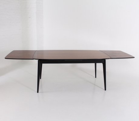 Rosewood & lacquered beech table with extensions by Alfred Hendrickx for Belform