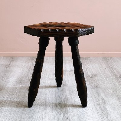 Spanish Brutalist Oak Milking Stool, 1970's
