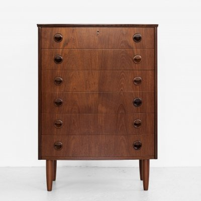 Midcentury Danish chest of 6 drawers in teak with bowed front, 1960s