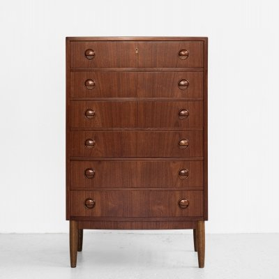 Midcentury Danish bowed front chest of 6 drawers in teak by Kai Kristiansen, 1960s