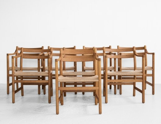 Midcentury Danish set of 8 'CH46' chairs by Hans Wegner for Carl Hansen & Søn