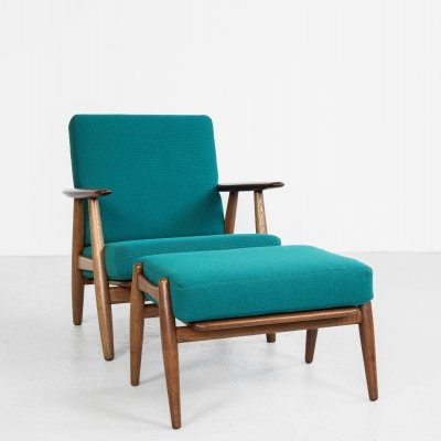 Midcentury Cigar Chair & Ottoman by Hans Wegner for Getama, 1950s