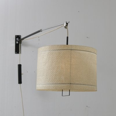 Extendible wall lamp with fiberglass shade, Italy 1950s