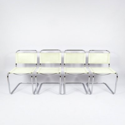 Set of 4 chromed metal & skai chairs, 1980s