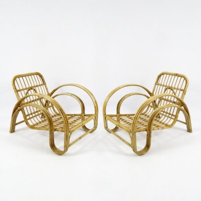 Pair of Dutch rattan lounge chairs, 1960s