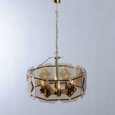 Smoked glass chandelier pendant lamp by Luigi Coloni for Sische, 1970s