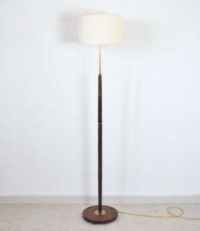 Mid-Century Modern Danish Rosewood Floor Lamp with Brass Details, 1960s