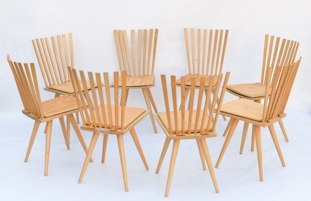 Ultra rare big set of 8 Mikado dining chairs by Johannes Foersom & Peter Hiort Lorenzen for FDB Møbler, 1990s