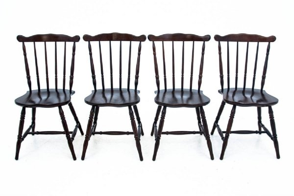 Four wooden dining chairs, 1930s