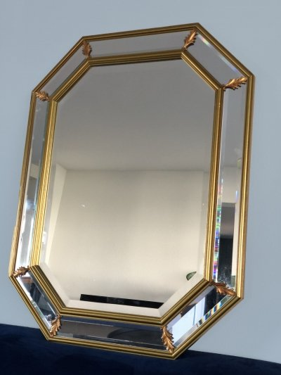 Vintage Facet Cut Hollywood Regency Mirror, 1960s