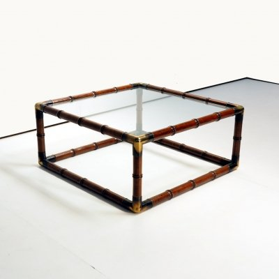 1970's coffee table in faux bamboo & brass