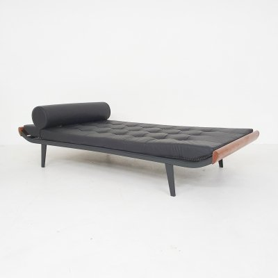 Black leather A.R. Cordemeyer for Auping 'Cleopatra' daybed, NL 1953