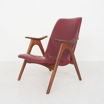 Louis van Teeffelen for Webe bordeaux red lounge chair, The Netherlands 1960's
