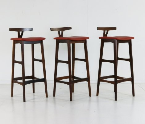 Set of 3 stools by Erik Buck for Dyrlund, 1960s