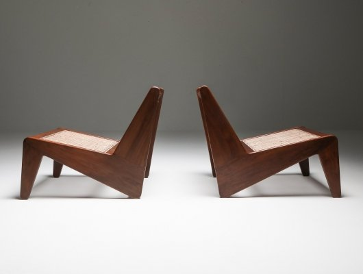 Kangaroo chairs by Jeanneret, Chandigarh 1955