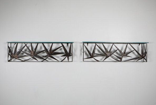Italian Pair of Metal Art Wall Consoles, 1970's