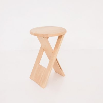 Adrian Reed for Princes design works blond 'Suzy' folding stool, U.K. 1980's