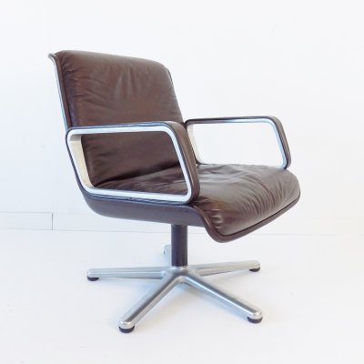 Wilkhahn Delta 2000 brown leather lounge chair by Delta Design